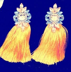 Jewelry - Tassel Blue Crystal Drop Fringe Earrings